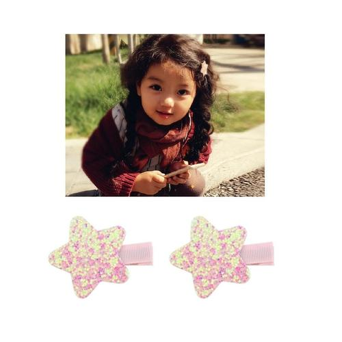 "inSowni 10 Pairs 2"" Alligator Hair Clips Glitter Star Barrettes Pins Accessories for Baby Toddlers Girls Teens Kids-Baby Girl Hair Clips-inSowni"