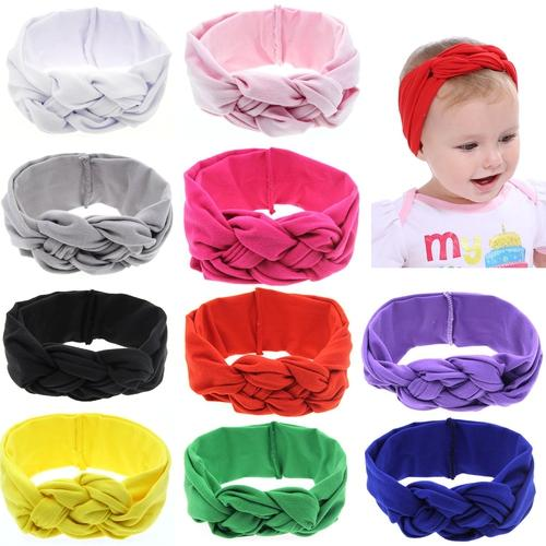 inSowni 10pcs/Lot Baby Girl Solid Celtic Knot Bunny Ears Headband Hair Bands Bow Accessories Pack Kids Toddlers Infant Headwear-Baby Girl Headbands-inSowni