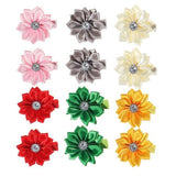 inSowni 12 Pairs Alligator Hair Clips Satin Flower with Rhinestone for Baby Girl Toddlers-Baby Girl Hair Clips-inSowni