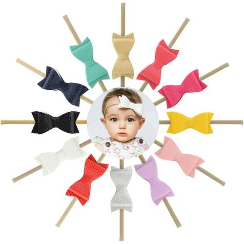 "inSowni 12pcs/Lot 3"" Leather Hair Bow Nylon Headbands Accessories Hairband Flower Baby Girl Toddlers Kids Children-Baby Girl Nylon Headbands-inSowni"
