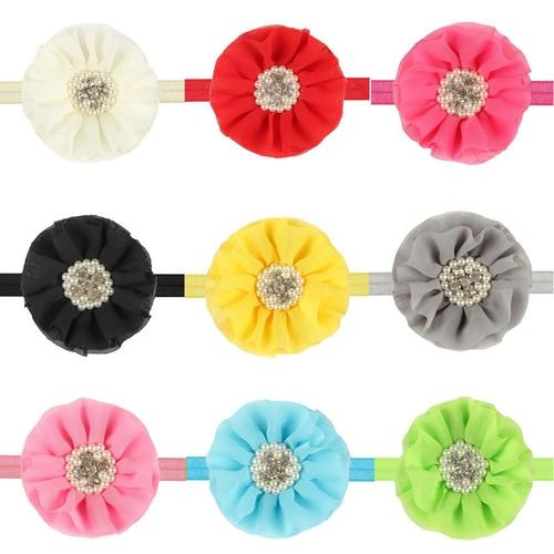 inSowni 12PCS/Lot Chiffon Flower with Rhinestone Headband Hair Band Bow for Baby Girl Toddlers Infants Kids Children DIY Accessories-Baby Flower Headbands-inSowni