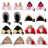 inSowni 16pcs Glitter Cute Cat Ear Alligator Hair Clips Bow Barrettes for Baby Girl Toddlers-Baby Girl Hair Clips-inSowni