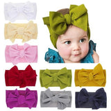 inSowni 1pc Large Bow DIY Knot Nylon Turban Headbands Hairbands Headwraps Hair Accessories for Infants Toddler Baby Girls Kids-Nylon Headbands-inSowni