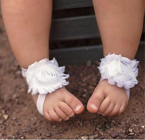 inSowni 1pc Shabby Flower Headband & 1 Pair Barefoot Sandals Shoes Accessories Photography Props for Baby Girls Newborns Infant-Footwear-inSowni