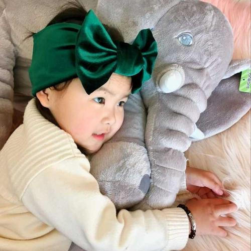 inSowni 1pc Solid Velvet Large Bow Knot Elastic Headbands Headwrap Turban Hair Accessories for Newborns Toddlers Baby Girls Kids-Headbands-inSowni