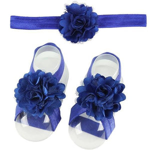 inSowni 1pc Stretchy Satin Flower Headband & 1 Pair Barefoot Sandals Shoes Accessories Photography Props for Baby Girls Newborns-Footwear-inSowni
