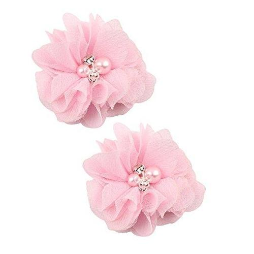 "inSowni 2"" Baby Girl Alligator Hair Clips Chiffon Flower with Rhinestone Pearl-Baby Girl Hair Clips-inSowni"