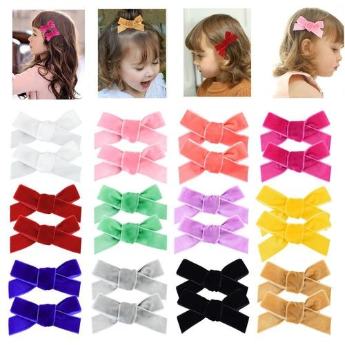Set of 4 Baby Hair clips toddler hair clips piggy tail clips Bow clips Hair clips Girls Hair Clips baby mbaby clips leather clips
