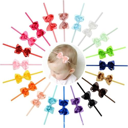 "inSowni 20PCS 3"" Grosgrain Baby Girl Infant Toddlers Kids Hair Bow Headbands Bands Accessories Headdress-Baby Girl Bow Headbands-inSowni"