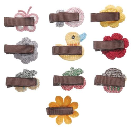 inSowni 20pcs Handmade Crochet Cute Small Alligator Hair Clips+1pc Hair Clip Holder Storage Organizer Set for Baby Girl Toddlers Infants Kids-Baby Girl Hair Clips-inSowni