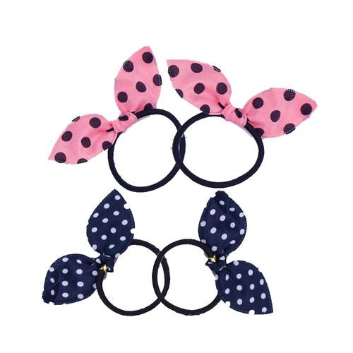 inSowni 20pcs Polka Dot Elastics Bunny Ear Hair Ties Bands Ponytail Holder Scrunchies Accessories for Baby Girls Toddlers Kids-Hair Ties-inSowni