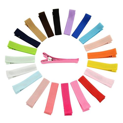 "inSowni 20pcs Solid 1.8"" Grosgrain Colvered Hair Clips Barrettes DIY Accessories for Baby Girl Toddlers Kids Infant-Baby Girl Hair Clips-inSowni"