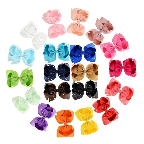 "inSowni 20pcs/Lot 5.5"" Inch Grosgrain Rhinestone Crystal Alligator Hair Bow Clips Pins Barrettes Accessories for Baby Toddler Girls Kids Children Women-Baby Girl Hair Clips-inSowni"