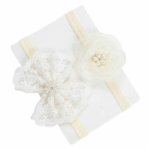 inSowni 2pcs Christening Baptism Flower Headbands for Baby Girl Toddlers Infants Newborn Kids (2PCS S1) …-Baby Flower Headbands-inSowni