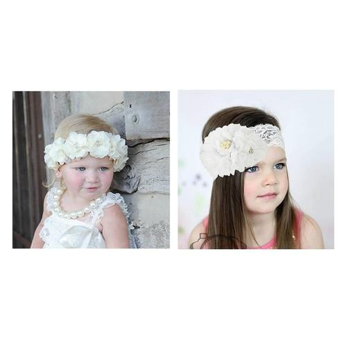 inSowni 2PCS Christening Baptism Flower Headbands for Baby Girl Toddlers Infants Newborn Kids-Baby Flower Headbands-inSowni