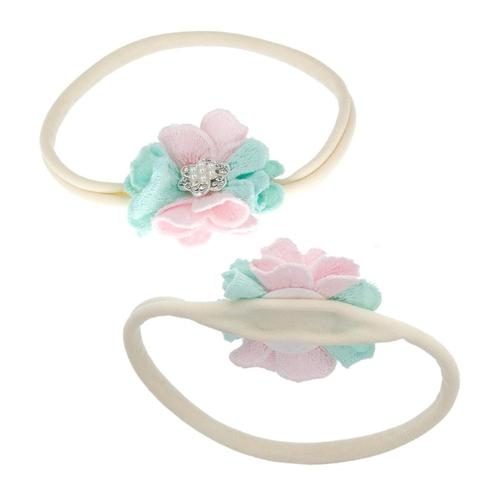 inSowni 3pcs Nylon Headbands Pearls Flower Hair Bow for Newborn Baby Girl Infants Toddlers Kids-Baby Girl Nylon Headbands-inSowni