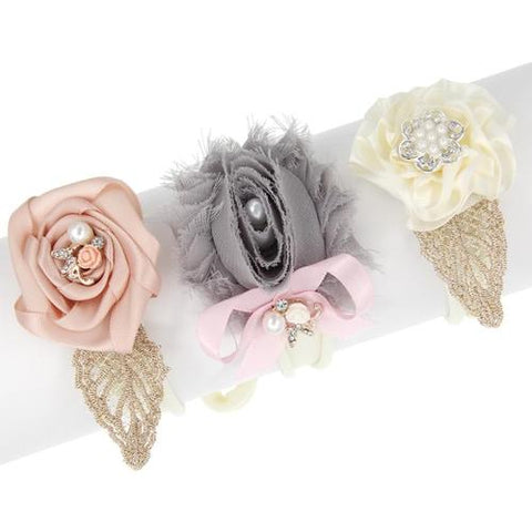 inSowni 3pcs Nylon Headbands Satin Shabby Flower for Newborn Baby Girl Infants Toddlers Kids-Baby Girl Nylon Headbands-inSowni