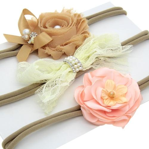 inSowni 3pcs Nylon Headbands Satin Shabby Flower Hair Bow for Newborn Baby Girl Toddlers-Baby Girl Nylon Headbands-inSowni