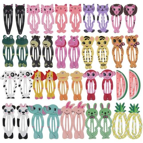 "inSowni 40 Pack 2"" Snap Hair Clips Non Slip Barrettes Animal Print for Baby Girl Toddlers Fine Thick Hair-Baby Snap Hair Clips-inSowni"