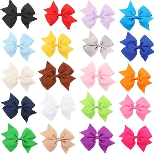 "inSowni 4.3"" Bow Snap Alligator Hair Clips Barrettes Pins Accessories for Baby Girl Toddlers (40PCS S16 (Size/4.3""))-Baby Girl Hair Clips-inSowni"