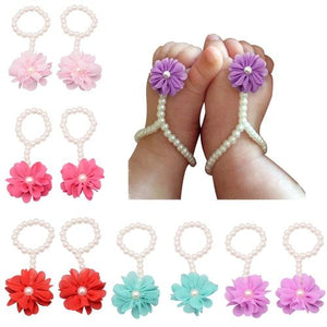 inSowni 5 Pair Flower Barefoot Sandals Shoes for Baby Girl Toddlers Infant-Baby Girl Flower Barefoot Sandals-inSowni