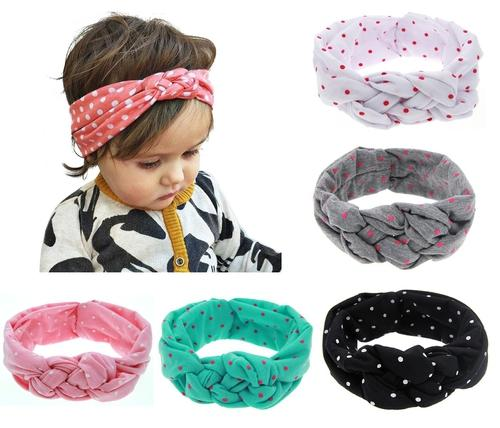 inSowni 5pcs/Lot Baby Girl Polka Dot Celtic Knot Bunny Ears Headband Hair Bands Bow Accessories Pack Kids Toddlers Infant Headwear-Baby Girl Headbands-inSowni
