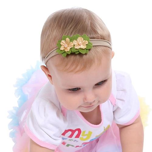 inSowni 6pcs Nylon Headbands Chiffon Flower for Newborn Baby Girl Infants Toddlers Kids-Baby Girl Nylon Headbands-inSowni