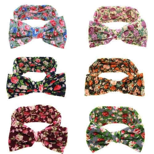 inSowni 6PCS/Lot Floral Print Flower Headband Bulk for Baby Girl Kids Toddlers Hair Accessories Headwear Bands-Baby Girl Headbands-inSowni