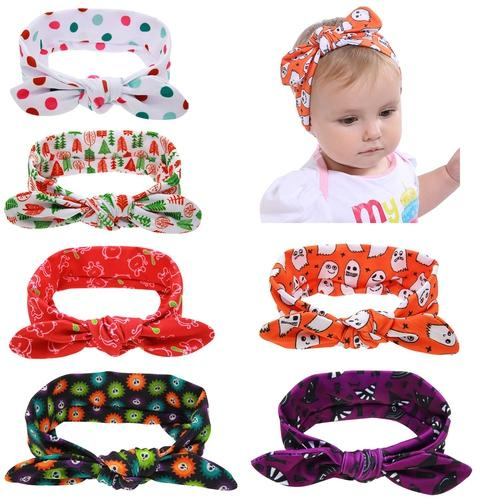 inSowni 6PCS/Lot Halloween Bunny Ears Headband Bulk for Baby Girl Kids Toddlers Hair Accessories Headwear Bands-Baby Girl Headbands-inSowni
