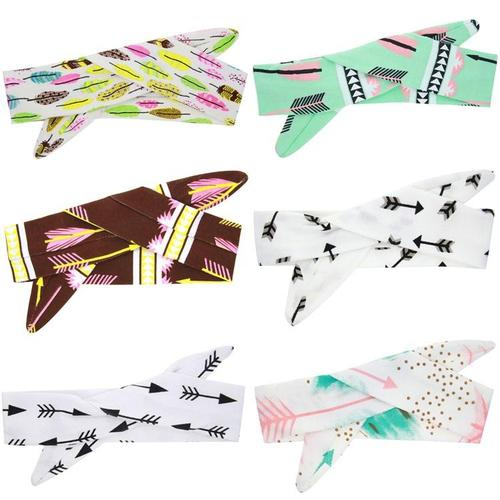 inSowni 6PCS/Lot Self Tie Arrow Print Bunny Ears Headband Hair Bands Bow Accessories Pack Kids Toddlers Infant Headwear-Baby Girl Headbands-inSowni