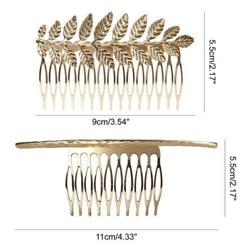 inSowni 8 Pack Large Gold Pearl Metal Hair Side Combs Clip Grip Clasp Barrettes Pins for Women Bridal Wedding Veil Decorative Headpiece-Hair Combs-inSowni