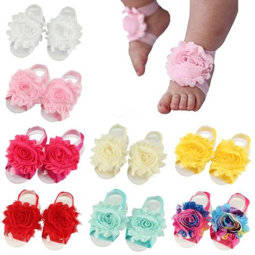 inSowni 8 Pairs Handmade Baby Girl Barefoot Sandals Shabby Flower Shoes Photography Props Summer Footwear Accessories-Baby Girl Flower Barefoot Sandals-inSowni