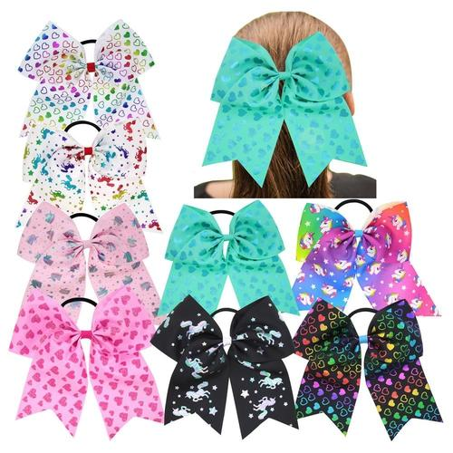 "inSowni 8pcs 8"" Grosgrain Heart Unicorn Print Large Big Bow Hair Tie Rope Ring Holder Accessories Baby Toddler Girls Kids Children Women-Baby Girl Hair Ties-inSowni"