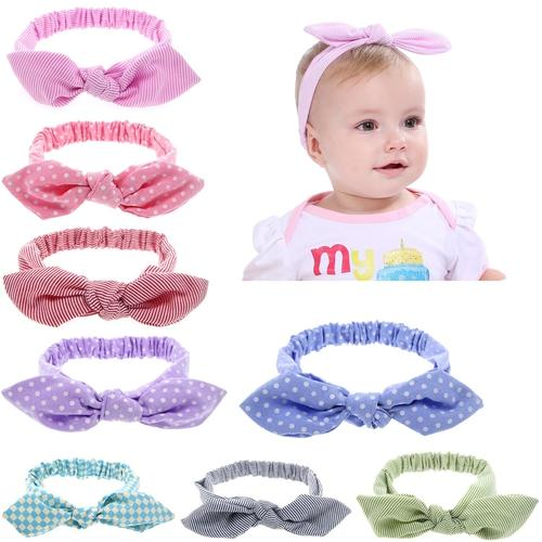 inSowni 8PCS/Lot Polka Dot Plaids Headband Bulk for Baby Girl Kids Toddlers Hair Accessories Headwear Bands-Baby Girl Headbands-inSowni