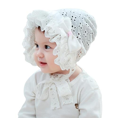 inSowni Baptism Christening Hat Cap Eyelet Bonnet with Bow Flowers White for Newborn Infants Baby Girls Toddlers-baby girl hat-inSowni