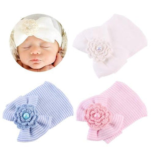 inSowni Crochet Hospital Nursery Hat Cap Bonnet Beanie with Bow for Newborns Baby Girls-baby girl hat-inSowni