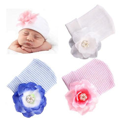 inSowni Crochet Hospital Nursery Hat Cap Bonnet Beanie with Flower for Newborn Baby Girls-baby girl hat-inSowni