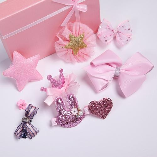 inSowni Kids Baby Girl Alligator Hair Clip Bow 10 Pack Set with Gift Box (10 PCS Pink Set)-Baby Girl Hair Clips-inSowni