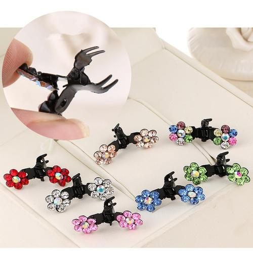 inSowni Mini Hair Claw Clips Flower Rabbit Ear Rhinestone Barrettes for Baby Girl Toddler Infant Kids-Baby Hair Claw Clips-inSowni