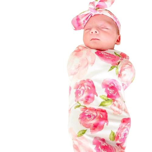 inSowni Receiving Swaddle Blanket with Headband Set for Newborns Baby Girl Boy-Baby Blanket Set-inSowni
