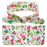inSowni Receiving Swaddle Blanket with Headband Set for Newborns Baby Girl Boy (Pink Flower)-Baby Blanket Set-inSowni