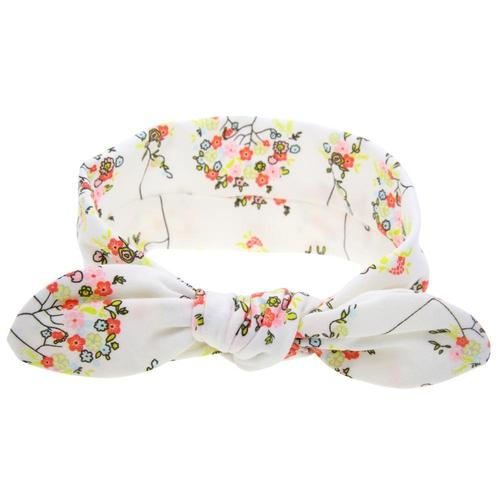 inSowni Receiving Swaddle Blanket with Headband Set for Newborns Baby Girl Boy (White Flower)-Baby Blanket Set-inSowni