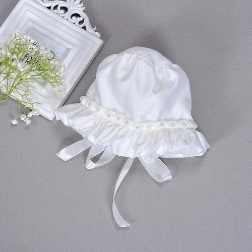 inSowni White Hat Cap Bonnet with Flower Pearl for Baby Girl Infant Princess Shower Christening-baby girl hat-inSowni