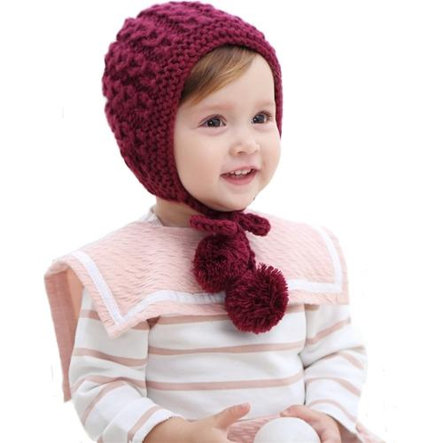 inSowni Winter Warm Crochet Hat Cap Bonnet For Baby Toddler Girl-baby girl hat-inSowni