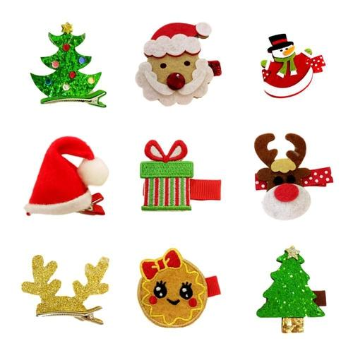 Kids Baby Girls Infant Toddler Christmas Xmas Santa Hair Clips Alligator Grip Snap Pin Barrettes Claws Hair Holder Accessories-Hair Clips-inSowni
