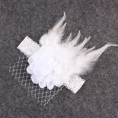 Kids Baby Toddler Infant Girl Flower Feather Mesh Net Mask Fascinator Headpiece Tea Party Kentucky Derby Headband Photography-Headbands-inSowni