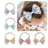 Kids Children Toddler Infant Baby Girl Nylon Elastic Stretchy Flower Floral Bowknot Headband Hairband Bow Accessories-Headbands-inSowni