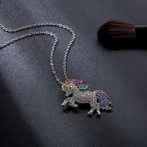 Kids Cute Cartoon Colorful Unicorn Necklace Pendant Chain Jewelry For Girls Children Birthday Gift-Women Necklaces-inSowni