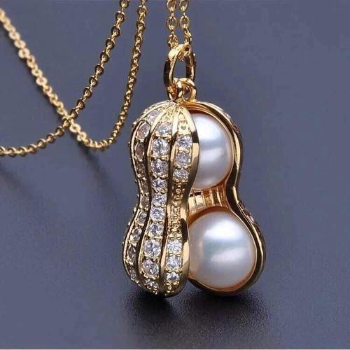 Lady Women Girls Alloy Peanut Pearl Necklace Silver Gold Pendant Clavicle Chain Jewelry Gift-Women Necklaces-inSowni