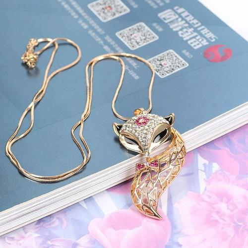 Lady Women Girls Fox Alloy Crystal Collar Statement Sweater Chain Pendant Vintage Necklace Gift-Women Necklaces-inSowni